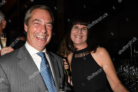 London, England 7th September 2016: Nigel Farage and Catherine Mayer Attends the Evening Standard Progress 1000 Awards Party at the Science Museum Exhibition Road West London.