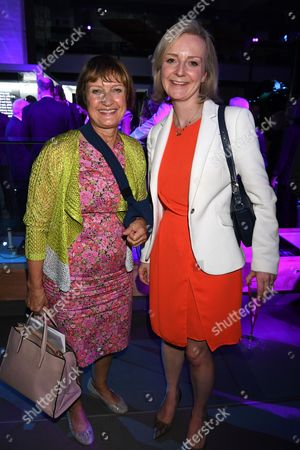London, England 7th September 2016: Dame Tessa Jowell Andelizabeth Truss Mp Attends the Evening Standard Progress 1000 Awards Party at the Science Museum Exhibition Road West London.