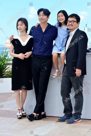 Cannes France 14th May 2016: Actors Jung Yu-mi, Gong Yoo, Kim Su-an and Director Yeon Sang-ho at the 'Train to Busan (bu_san-haeng)' Photo-call During the 69th Annual Cannes Film Festival On May 14, 2016 in Cannes, France.