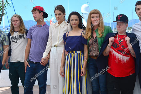 Cannes France 15th May 2016: Mccaul Lombardi, Isaiah Stone, Raymond Coalson, Riley Keough, Sasha Lane, Director Andrea Arnold, Actors Veronica Ezell and Shia Labeouf at the 'American Honey' Photo-call During the 69th Annual Cannes Film Festival at the Palais Des Festivals On the 15th May 2016 in Cannes, France.