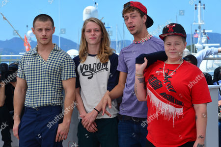 Cannes France 15th May 2016: Mccaul Lombardi, Isaiah Stone, Raymond Coalson and Veronica Ezell at the 'American Honey' Photo-call During the 69th Annual Cannes Film Festival at the Palais Des Festivals On the 15th May 2016 in Cannes, France.