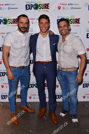 London, England, 28th July 2016: Michael Greco (miles Mason), David Albury (jimmy) and Kurt Kansley (father/envy) and Attend 'life Through a Lens: Exposure the Musical' Press Night at St James Theatre, Victoria On the 28th July 2016.