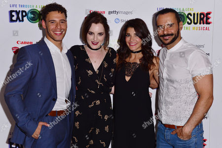 London, England, 28th July 2016: David Albury (jimmy), Niamh Perry (pandora/pride), Natalie Anderson (tara) and Michael Franco (miles Mason) Attend 'life Through a Lens: Exposure the Musical' Press Night at St James Theatre, Victoria On the 28th July 2016.