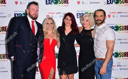 London, England, 28th July 2016: Writer Mike Dyer, Ensemble - Stevie Mahoney, Lauren Stroud and Rhiannon Duncan and Michael Franco (miles Mason) Attend 'life Through a Lens: Exposure the Musical' Press Night at St James Theatre, Victoria On the 28th July 2016.