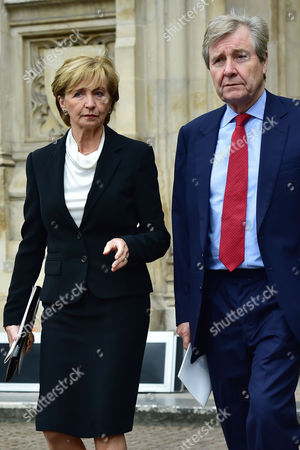 Stock Image of London UK 27th Sept 2016: Sue Lawley with Her Husband Hugh Williams at the Memorial Service for Terry Wogan at Westminster Abbey, London. September 27, 2016 London UK