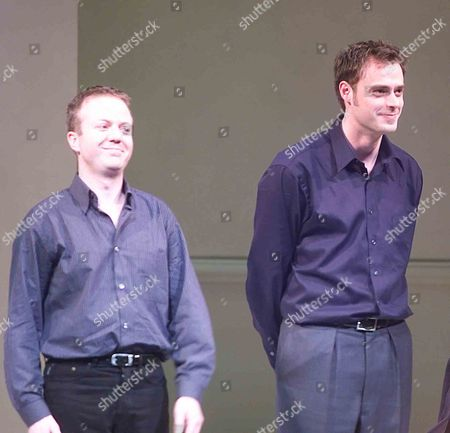Editorial image of New Cast For 'Art' at the Whitehall Theatre Jamie Theakson Joins Stephan Mcgann & Christopher Luscombe at the Curtain Call For Jamies First Night On the Stage After A Preview of Art Last Night