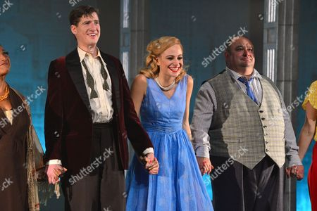 London, England 26th July 2016: Matt Barber, Pixie Lott and Victor Mcguire Take a Bow After the First Night of 'Breakfast at Tiffany's' at the Theatre Royal Haymarket in London, England On the 26th July 2016.
