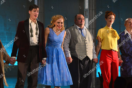 London, England 26th July 2016: Matt Barber, Pixie Lott, Victor Mcguire and Naomi Cranston Take a Bow After the First Night of 'Breakfast at Tiffany's' at the Theatre Royal Haymarket in London, England On the 26th July 2016.