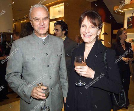 Reception at Burberry's Bond Street Store Manolo Blahnik and Anna Harvey