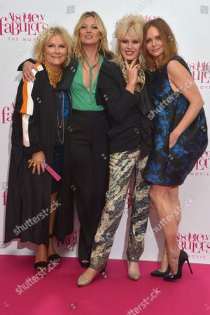 London, England, 29th June 2016: Jennifer Saunders, Kate Moss, Joanna Lumley and Stella Mccartney at the 'Absolutely Fabulous: the Movie' World Premiere at Odeon Cinema in Leicester Square, London On the 29th June 2016.