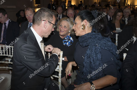 Stock Picture of London, England 26th June 2016 - Mark Regev , the Ambassador From Israel to the United Kingdom with Dame Vivien Duffield & Dame Gail Ronson at the Victoria & Albert Museum On Brompton Road in West London On the 26th June 2016.