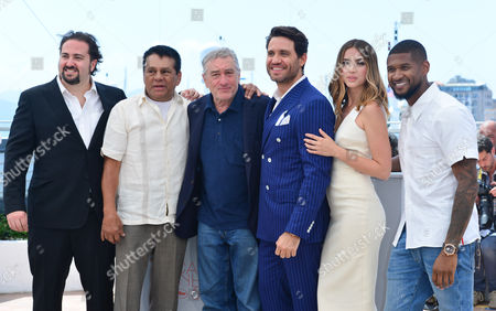 Cannes France 16th May 2016: Director Jonathan Jakubowicz, Roberto Duran, Robert De Niro, Edgar Ramirez, Ana De Armas and Usher Attends 'Hands of Stone' Photocall During the 69th Annual Cannes Film Festival On May 16, 2016 in Cannes, France.