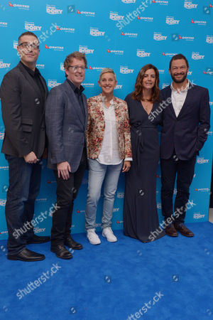 London, England 10th July 2016: Co-director Angus Maclane, Director Andrew Stanton, Ellen Degeneres, Producer Lindsey Collins and Dominic West at the European Premiere of 'Finding Dory' Held at the Odeon Cinema in Leicester Square, London On the 10th July 2016.