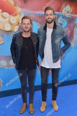 London, England 10th July 2016: Adam Pitts and Andy Brown at the European Premiere of 'Finding Dory' Held at the Odeon Cinema in Leicester Square, London On the 10th July 2016.