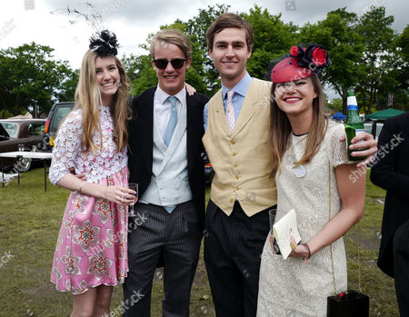 Stock Picture of Ascot, England. 16th June 2016: Ella May Sangster , George Spencer-churchill, Marquess of Blandford, Mylo Sangster and His Girlfriend Alice Burridge at Ascot On Ladies Day at Royal Ascot 2016 16th June 2016 Ascot Racecourse, Berkshire, England