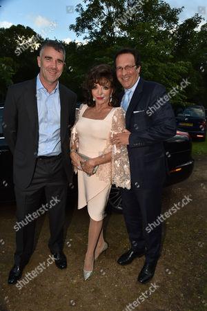 London UK 21st June 2016: Ivan Massow, Dame Joan Collins with Her Husband Percy Gibson at Lady Annabel Goldsmith's Summer Party Ham Gate Richmond Park Twickenham London 21st June 2016