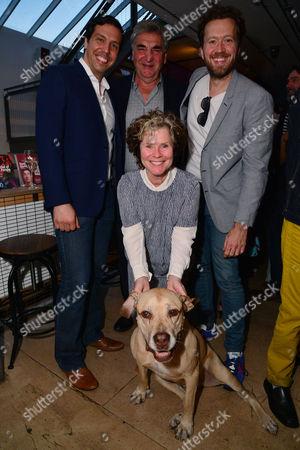 London, England, 14th July 2016: Alex Gaumond, Imelda Staunton, Jim Carter, Jez Bond with Holly the Dog Attend the Press Night for 'The Trial of Jane Fonda' at the Park Theatre, Finsbury Park On the 14th July 2016