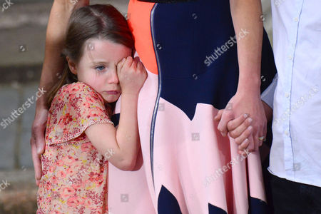 Stock Image of London, England, 12th July 2016: Florence Rose Endellion Cameron Crying As They Leave 10 Downing Street for the Last Time. London, England. 12th July 2016.