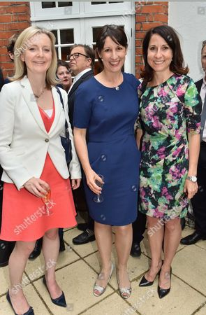 London England, 6th July 2016: Elizabeth Truss Mp with Rachel Reeves Mp and Liz Kendall Mp at the Spectator at Home at the Spectator Offices at Old Queen Street in Westminster, London On the 7th July 2016.