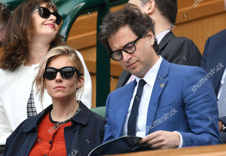 London, England 5th July 2016: Sienna Miller with Bennett Miller Seen at Wimbledon On Day 8 of the Championship Held at the All England Lawn Tennis Club On the 5th July 2016.