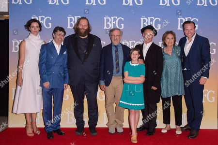 London, England 17th July 2016: Rebecca Hall, Jonathan Holmes, Olafur Darri Olafsson, Director Steven Spielberg, Ruby Barnhill, Mark Rylance and Rafe Spall at the 'BFG' European Premiere at the Odeon Cinema in Leicester Square, London On the 17th July 2016.