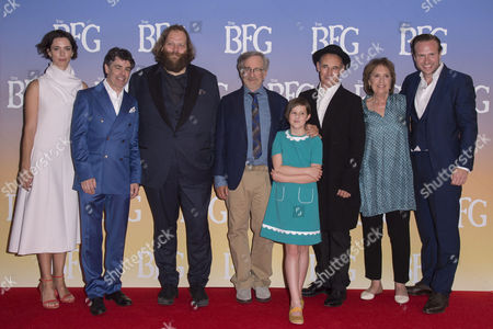 London, England, 17th July 2016: Rebecca Hall, Jonathan Holmes, Olafur Darri Olafsson, Steven Spielberg, Ruby Barnhill, Mark Rylance, Penelope Wilton and Rafe Spall at 'BFG' UK Premiere Vip Arrivals, Leicester Square Gardens On the 17th July 2016