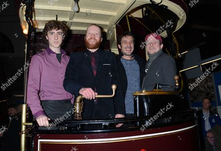 Stock Photo of The Uk Premiere of 'Sightseers' at the London Transport Museum Convent Garden London Dominic Applewhite Steve Oram Tom Meeten and Richard Glover
