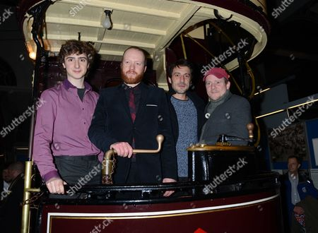 Stock Image of The Uk Premiere of 'Sightseers' at the London Transport Museum Convent Garden London Dominic Applewhite Steve Oram Tom Meeten and Richard Glover