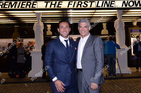 Stock Image of London UK 28th Sept 2016: Pantelis Kodogiannis and Yorgo Voyagis at the World Premiere of 'The First Line' at the Curzon Mayfair, London On the September 28, 2016 London UK