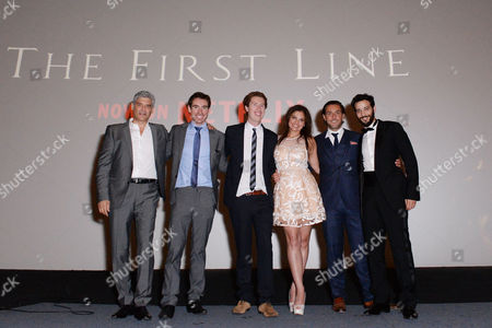 London UK 28th Sept 2016: Producer and Director Brothers, Coerte Voorhees and John Voorhees with Karim Kassem, Lizette Orozco, Pantelis Kodogiannis and Yorgo Voyagis at the World Premiere of 'The First Line' at the Curzon Mayfair, London On the September 28, 2016 London UK