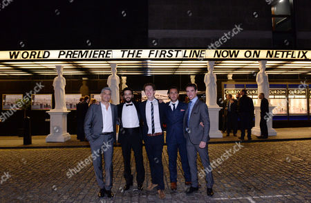London UK 28th Sept 2016: Producer and Director Brothers, Coerte Voorhees and John Voorhees with Karim Kassem, Pantelis Kodogiannis and Yorgo Voyagis at the World Premiere of 'The First Line' at the Curzon Mayfair, London On the September 28, 2016 London UK