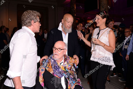 London, England 7th September 2016: Roger Daltrey, Michael Eavis and Alan Aldridge with His Daughter Saffron Aldridge at the 'you Say You Want a Revolution: Records & Rebels 1966-70' Preview Party at the Victoria and Albert Museum in London On the 7th September 2016