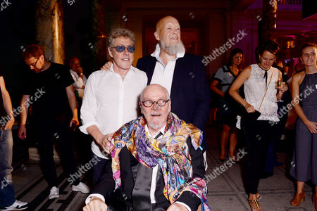 Stock Picture of London, England 7th September 2016: Roger Daltrey, Michael Eavis and Alan Aldridge at the 'you Say You Want a Revolution: Records & Rebels 1966-70' Preview Party at the Victoria and Albert Museum in London On the 7th September 2016