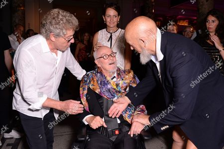 London, England 7th September 2016: Roger Daltrey, Michael Eavis and Alan Aldridge at the You Say You Want a Revolution: Records & Rebels 1966-70 Preview Party at the Victoria and Albert Museum in London On the 7th September 2016.