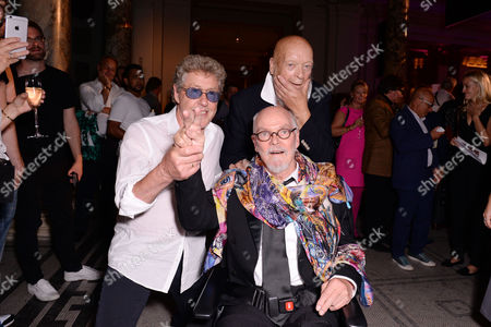 London, England 7th September 2016: Roger Daltrey, Michael Eavis and Alan Aldridge at the 'you Say You Want a Revolution: Records & Rebels 1966-70' Preview Party at the Victoria and Albert Museum in London On the 7th September 2016