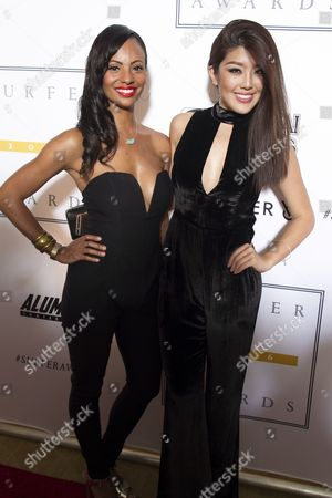 Stock Photo of Actress Candice Smith and Stephanie Wang, Miss China USA