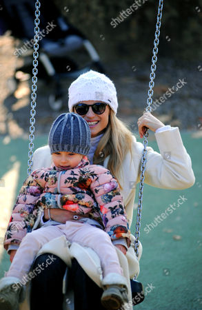 Michelle Hunziker at Sant'Ambrogio park with her daughter Celeste Trussardi
