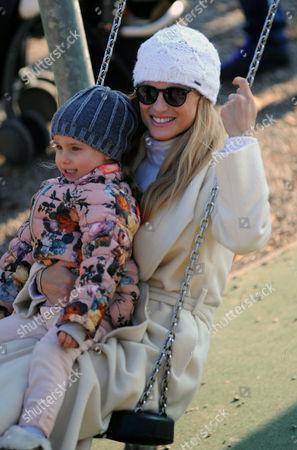 Michelle Hunziker at Sant'Ambrogio park with her daughter Celeste Trussardi