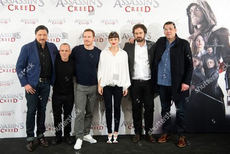 Carlos Bardem, Javier Gutierrez, Michael Fassbender, Marion Cotillard, Justin Kurzel and Hovik Keuchkerian