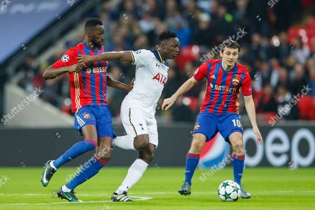 Victor Wanyama of Tottenham Hotspur takes on Lacina Traore and Alan Dzagoev of CSKA Moscow during the UEFA Champions League match between Tottenham Hotspur and CSKA Moscow played at Wembley Stadium, London on 7th December 2016
