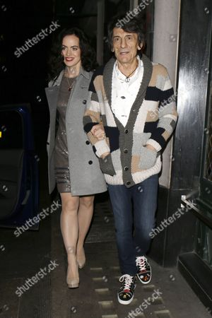 Stock Image of Sally Wood and Ronnie Wood at the Ivy Restaurant