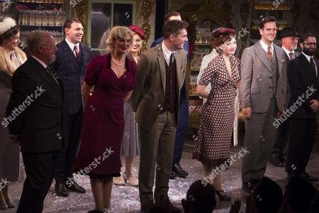 Les Dennis (Mr Maraczek), Katherine Kingsley (Ilona Ritter), Mark Umbers (Georg Nowack), Scarlett Strallen (Amalia) and Dominic Tighe (Steven Kodaly) during the curtain call
