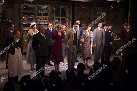 Les Dennis (Mr Maraczek), Katherine Kingsley (Ilona Ritter), Mark Umbers (Georg Nowack), Scarlett Strallen (Amalia), Dominic Tighe (Steven Kodaly) and members of the cast during the curtain call