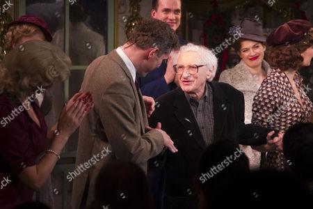 Katherine Kingsley (Ilona Ritter), Mark Umbers (Georg Nowack) and Sheldon Harnick (Lyrics) during the curtain call