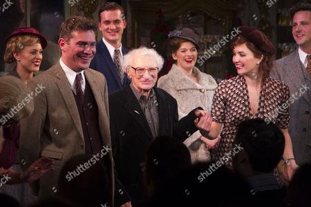 Mark Umbers (Georg Nowack), Sheldon Harnick (Lyrics), Scarlett Strallen (Amalia) and Dominic Tighe (Steven Kodaly) during the curtain call