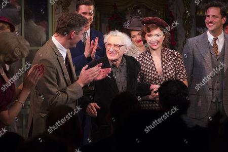 Katherine Kingsley (Ilona Ritter), Mark Umbers (Georg Nowack), Sheldon Harnick (Lyrics), Scarlett Strallen (Amalia) and Dominic Tighe (Steven Kodaly) during the curtain call