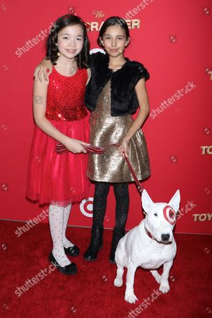 Stock Photo of Isabella Russo, Kylie Cantrall and Bullseye the Target Dog