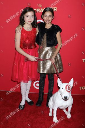 Stock Image of Isabella Russo, Kylie Cantrall and Bullseye the Target Dog