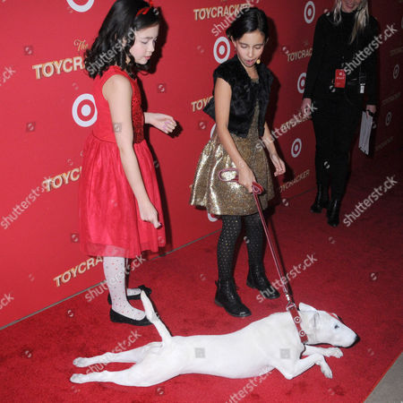 Isabella Russo, Kylie Cantrall and Bullseye the Target Dog