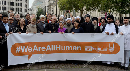 World Jewish Relief Islamic Relief & Christian Aid Event #weareallhuman - Interfaith Vigil: 'Showing Solidarity with the People of Iraq' Meeting at Westminster Abbey with the Most Rev & Rt Hon Justin Welby Archbishop of Canterbury Imam Ibrahim Mogra Ayatollah Dr Sayed Fazel Milani Rabbi Laura Janner-klausner